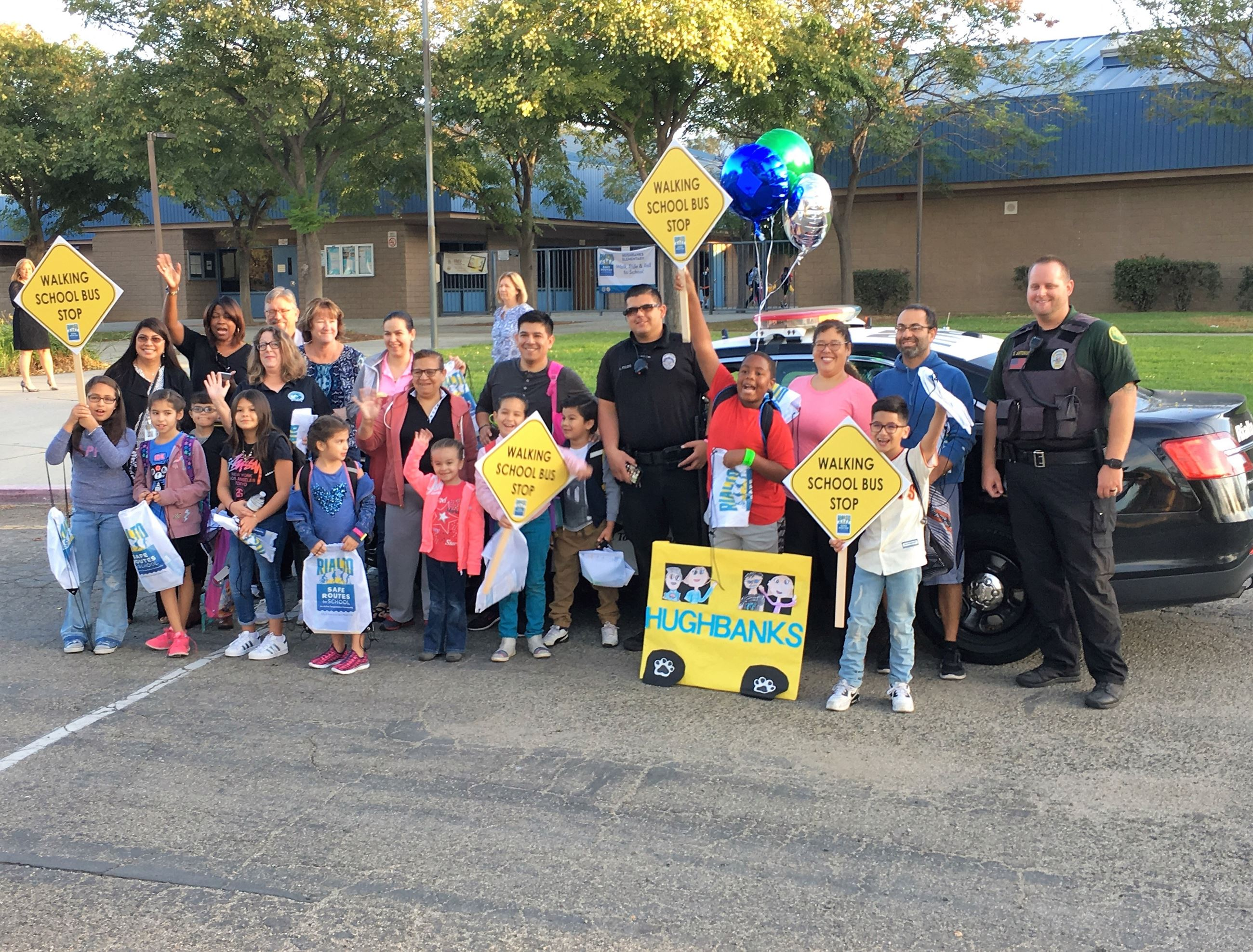 Children and Police Officers at Walking School Bus Event